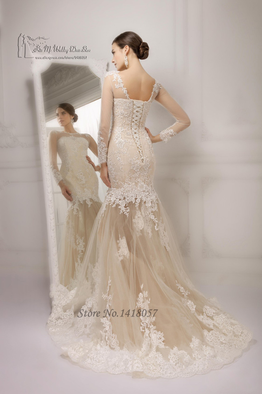 Buy sexy see through white champagne for White corset wedding dress