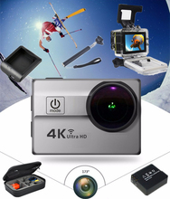 2016 New 2.0 inch Lcd Ultra HD 173degree  Lens 4K 25fps 64GB Waterproof 30m Wifi Action Camera 1080p sport camera +extra parts(China (Mainland))