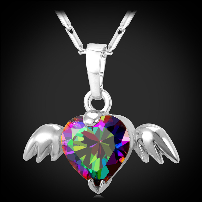 Romantic Angle Heart Wings Pendants Necklace 18K Real Gold/platinum Plated Necklaces Inlay Zirconia Crystal Women Jewelry IP1934(China (Mainland))