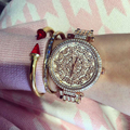 Wristwatches Quartz Watches Women s Watches High Quality JEWELS Movement Gilded Gilt Strap SONY Original Battery