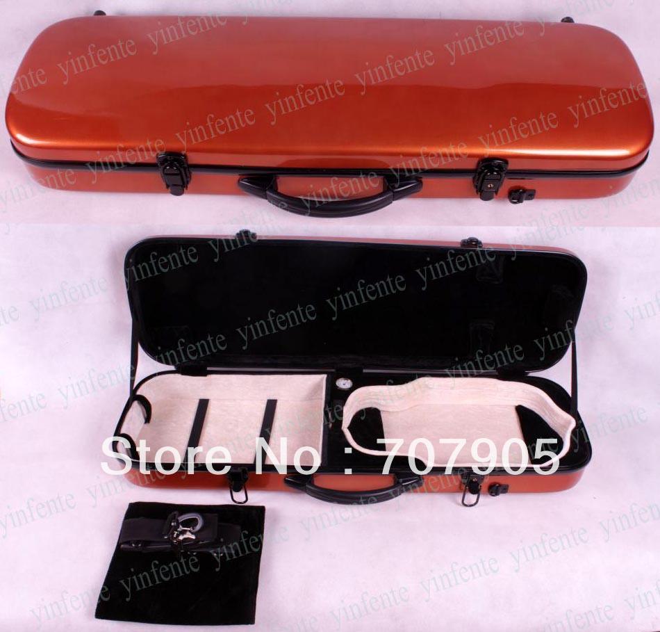 Фотография 1x New 4/4 violin Water Proof Glass fiber Square Case Dropshipping Wholesale High quality Orange