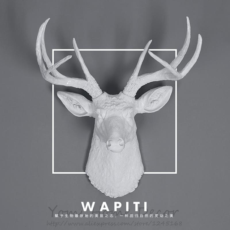 Achetez en gros r sine mur sculptures en ligne des grossistes r sine mur sc - Tete de cerf blanche ...