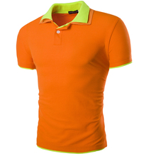 New 2016 Summer Men Polo Shirt Patchwork Two Collar Tops Tees Short Sleeve polo homme Crossfit Mens Slim Fit Casual Polo Shirts