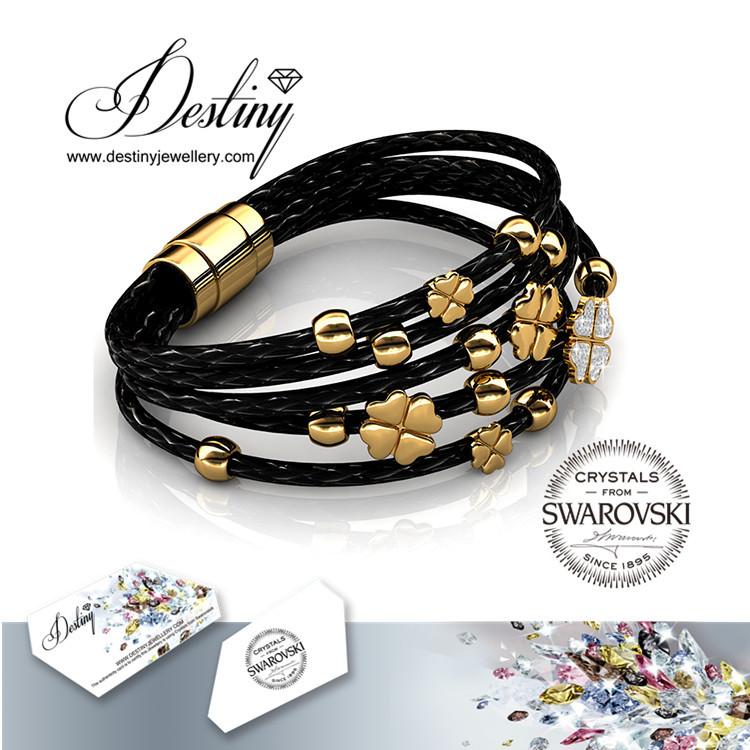 Destiny Jewellery crystal Round leather bracelet Crystals from Swarovski(China (Mainland))