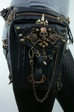 Fashion Gothic Steampunk Skull Retro Rock bag Men Women Waist Bag Shoulder Bag Phone Case Holder Bag 2015(China (Mainland))