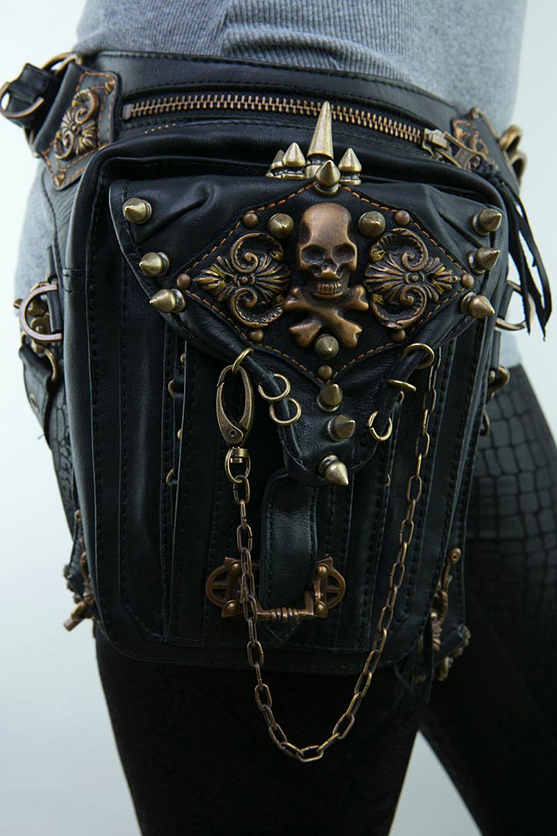 Fashion Gothic Steampunk Skull Exclusive Retro Rock bag Men Women PU Purse Wallet Shoulder Bag Phone Case Holder 2015