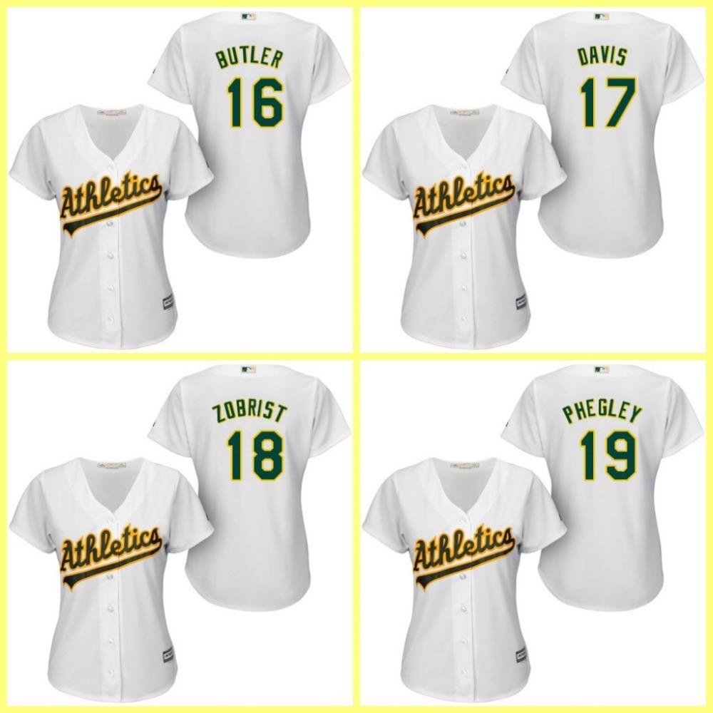 Hot Sale Oakland Athletics Women's Jerseys #16 Billy Butler,#17 Ike Davis,#18 Ben Zobrist,#19 Josh Phegley Baseball Jersey(China (Mainland))