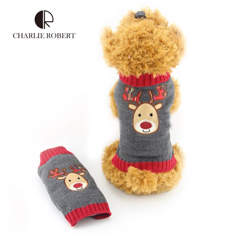 Christmas Reindeer Rudolph Knit Dog Sweater Eupoean Popular Winter Warm Pet Sweater Dog Clothes Soft Washable Hundepullover(China (Mainland))