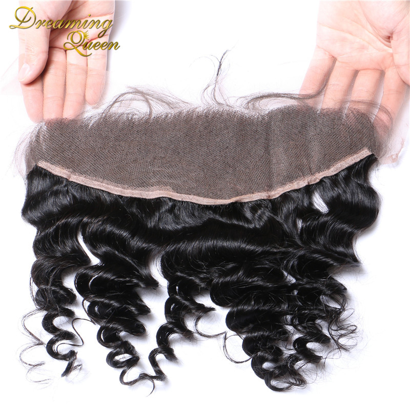 --DHL Free Shipping Brazilian Loose Wave Lace Frontal Closure 7A Grade Bleached Knots Human Hair 13X4 Ear to Ear With Baby Hair