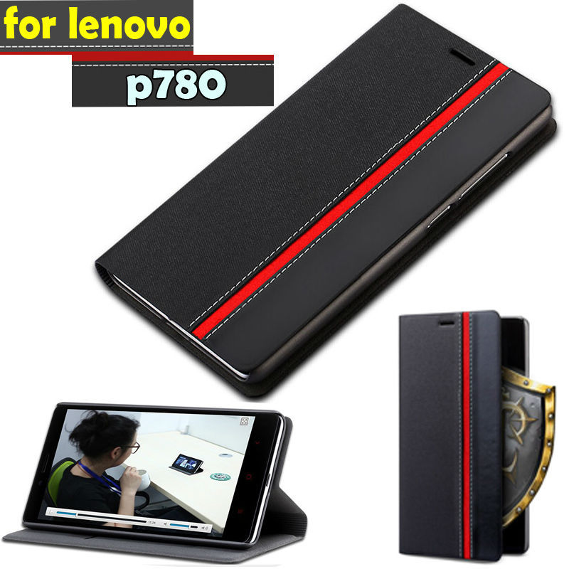 New 2014 Luxury Leather Flip Case For lenovo p780 + Screen protection film Phone Cover Cases With Wallet black(China (Mainland))