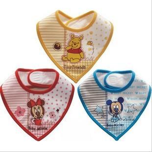 Cute Cartoon triangle bibs, cotton baby bib waterproof saliva towel/triangle baby girl's boys bib aprons yellow/red/blue(China (Mainland))