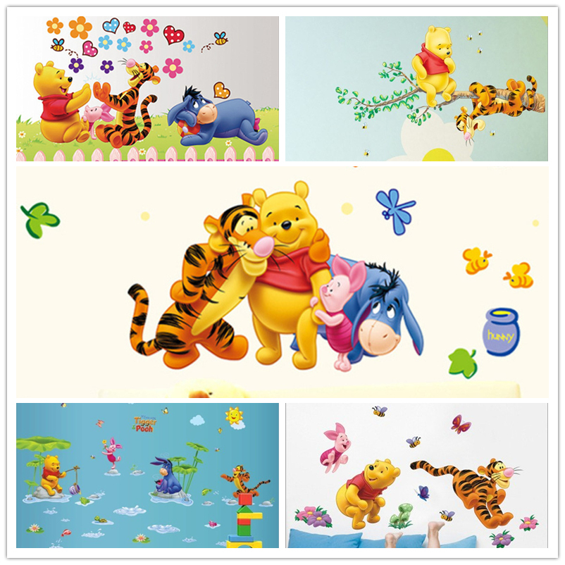 winnie the pooh bear wall sticker child role of children's Diy adhesive art mural poster picture removable wallpaper baby room(China (Mainland))