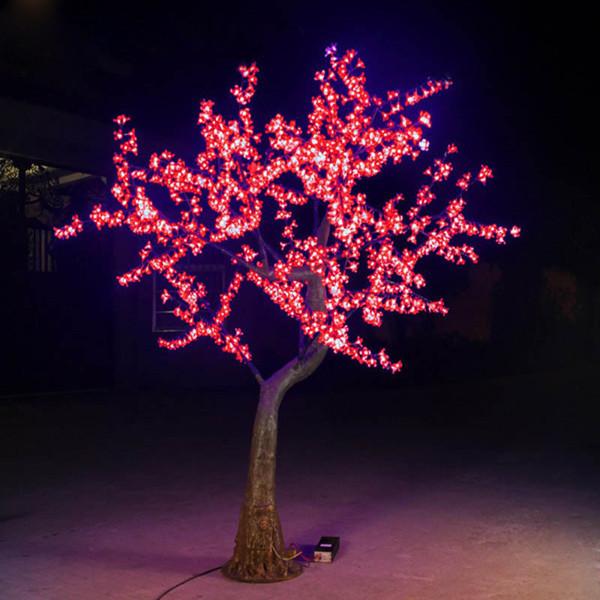 free shipping 2pcs 220v 1.8m 1152leds 69W outdoor christmas led tree light and 220pcs big white cherry flowers(China (Mainland))