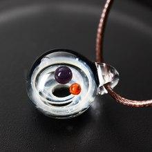 LKO mgławica Cosmic Handmade Galaxy szklany wisiorek z liny naszyjnik szczęście mężczyźni kobiety para biżuteria walentynki prezent(China)