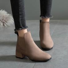 YOUYEDIAN Winter Laarzen vrouwen 2018 Zwarte Enkellaars Voor Vrouwen Dikke Hak Slip Op Dames Schoenen Laarzen Bota Feminina(China)