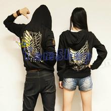 shingeki no kyojin attack on titan cosplay hooded jacket coat fashion GOLD LOGO unisex hoodie sweatshirt anime costume(China (Mainland))
