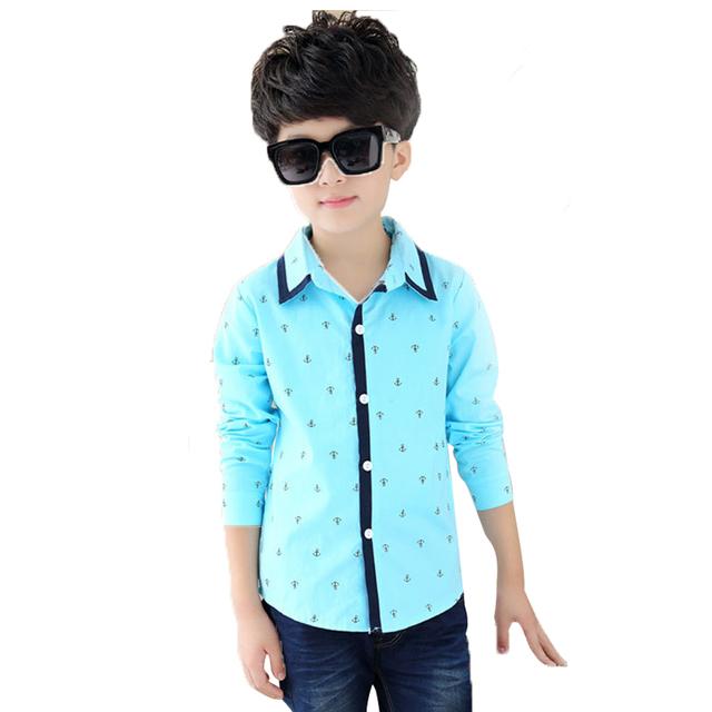 Мальчиков рубашки весна осень Новый стиль детская одежда с длинным рукавом полк точка ...