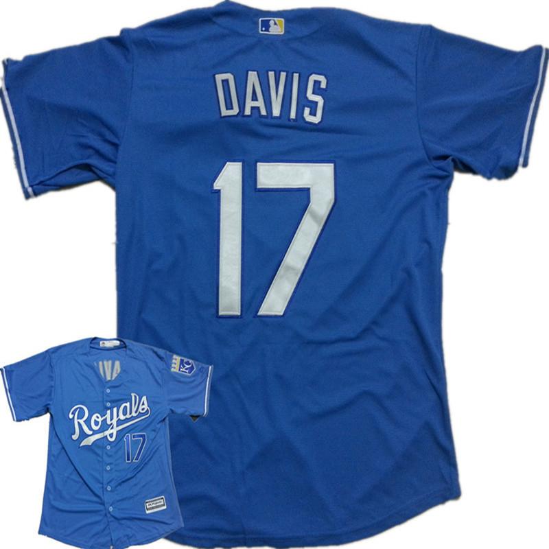 Newt hot sell! Mens cheap Gray Kansas City Royals cool base Jersey powder blue 17 Wade Davis Baseball Jersey(China (Mainland))