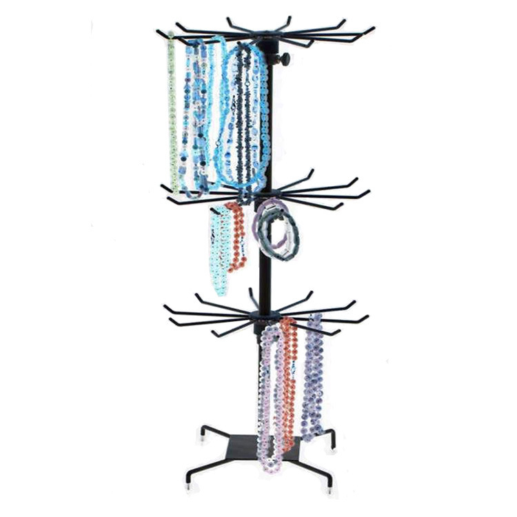 Black Metal Jewelry Organizer Tower Necklace Tree Bracelet Display Stand w/ Hairclip Holder(China (Mainland))