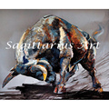 Handpainted Angry bull texture Canvas Painting For Bedroom Decoration Pictures On The Wall Modern Animal Oil