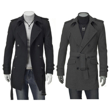 2014 Men Thicken Double Bleasted Lapel Epaulet Strappy Shaped Man Warm Woollen Long Coat #65563(China (Mainland))