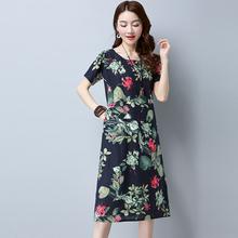 Retro Gradient Print Short Sleeve Cotton Linen Straight Long Dress Summer Fashion 2017 Women Casual Dress(China)