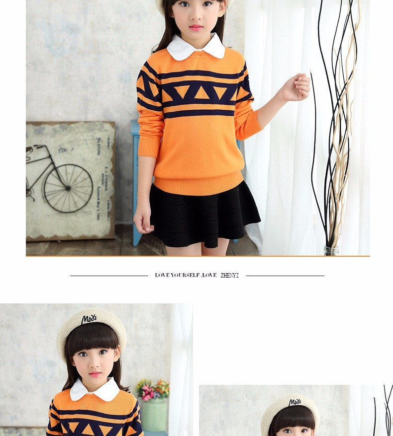 Скидки на 4-15 Y девушка новая осень шерсть с длинными рукавами свитер хлопка одежды детей мультфильм одежда девочка