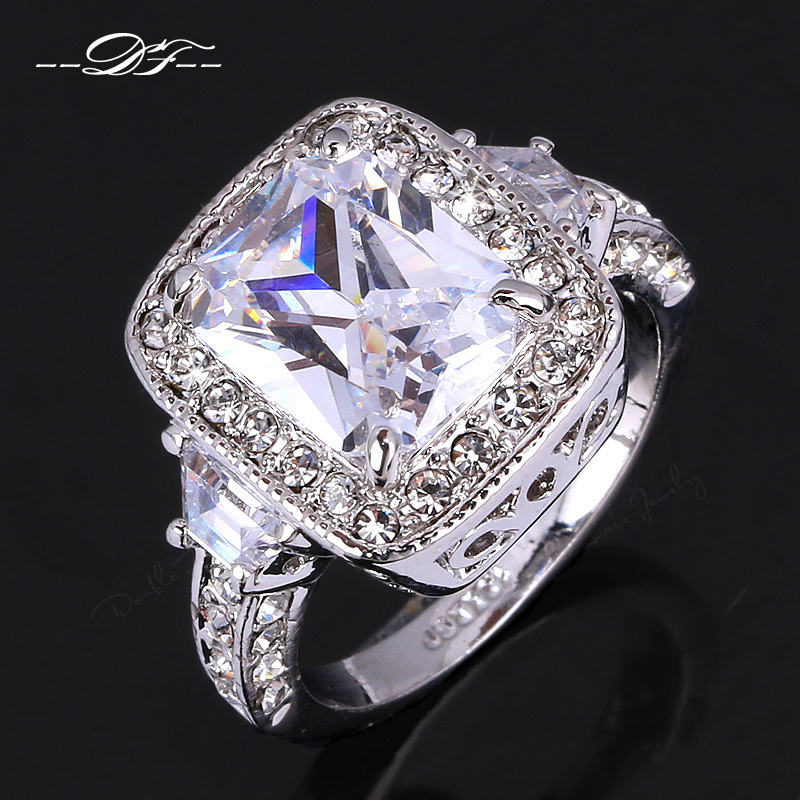 Exaggerated Luxury CZ Diamond Engagement Rings Wholesale Rose White Gold Plat