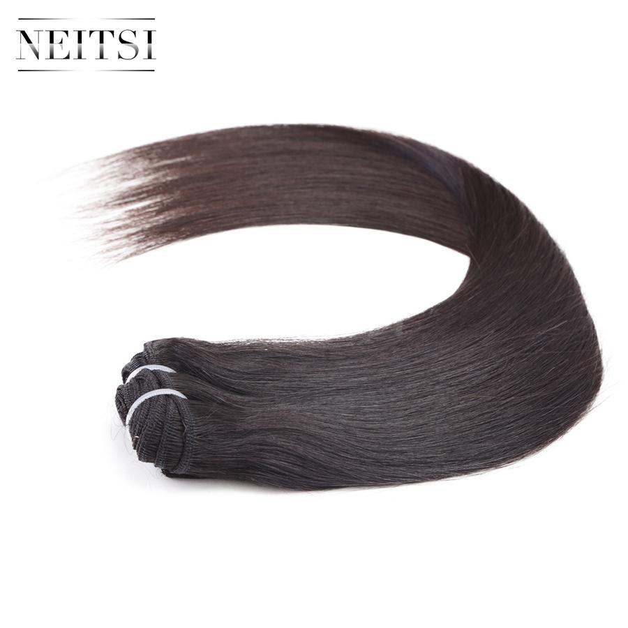 Фотография Neitsi 7A Brazilian Virgin Remy Human Hair Straight Weave Extensions Natural Black 100% Human Hair Weft Unprocessed Super Soft