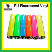 TJ High-quality t shirts PU Fluorescent Vinyl,heat transfer vinyl,pu vinyl(width=0.5meter)  six colors