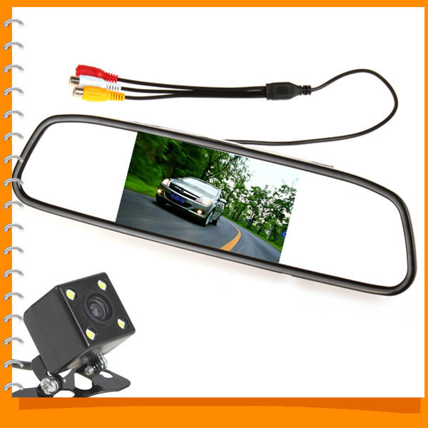 Univeral 4.3 Inch TFT LCD Auto Car Rear View Mirror Monitor Parking + Night Vision Car Rearview Reverse Camera 170 Wide Angle(China (Mainland))