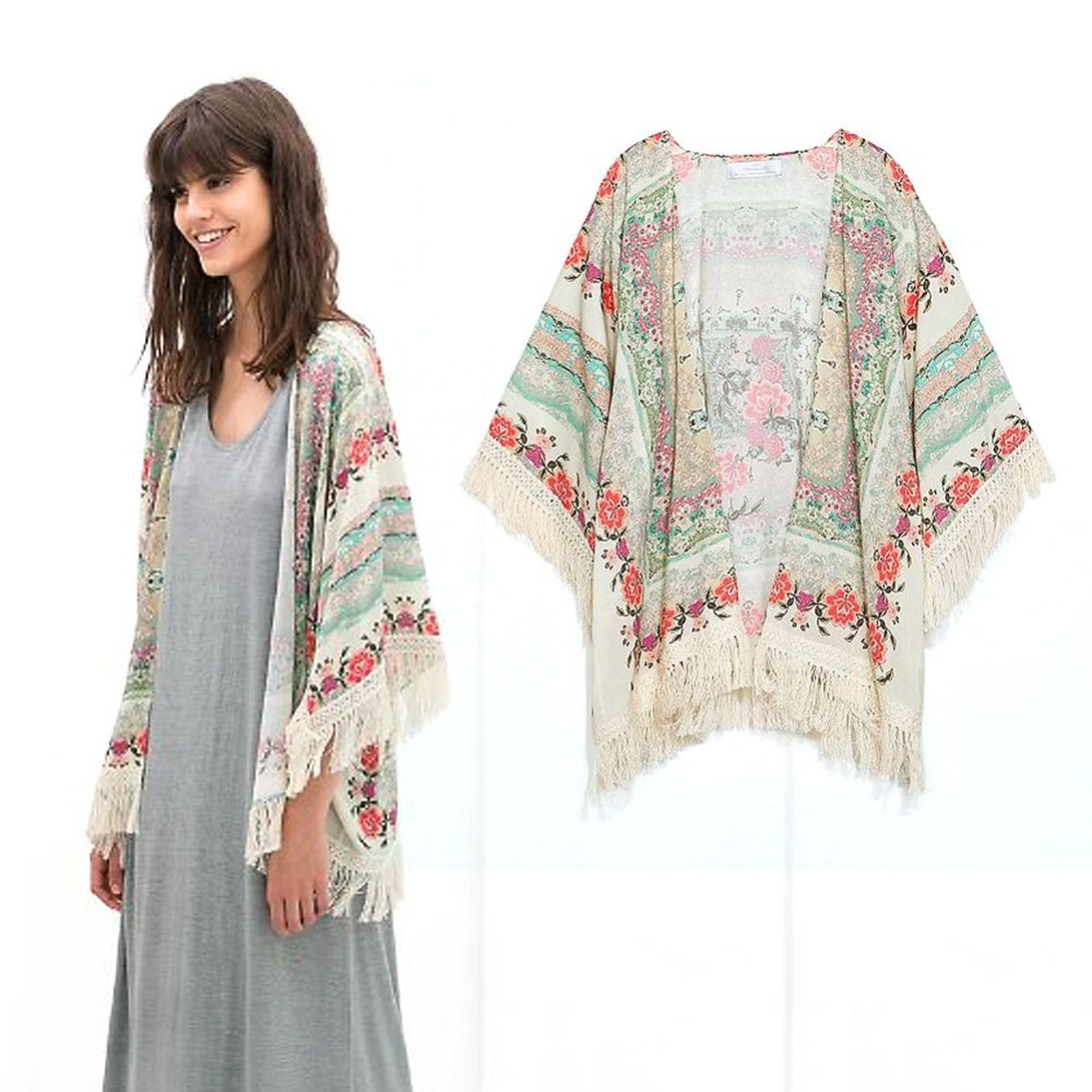 Sexy polo Women Summer Floral Tassels Casual Kimono Outerwear Tippet(China (Mainland))