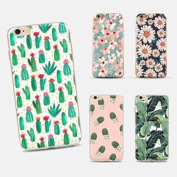 New Arrival Ultrathin Soft TPU Case for iphone 5 5s 6 6s 6plus Flowers Daisy Plants Fruit Cactus pattern Case Cover