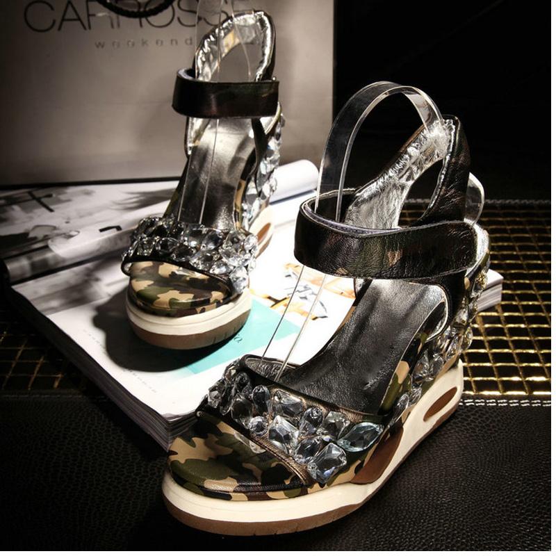 New 2016 women high heel platform sandals wedges Rhinestone Genuine Leather Gladiator Sandals women platform shoes zapatos mujer