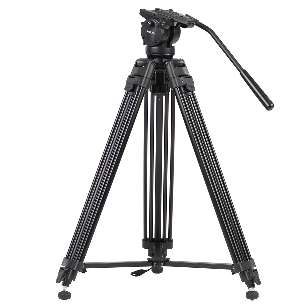 KINGJOY VT-2500 Mg-Al Alloy Video Photo Tripod Professional DSLR Camera Tripod With 360 panoramic Fluid Ball Head Max Load 12KG(China (Mainland))
