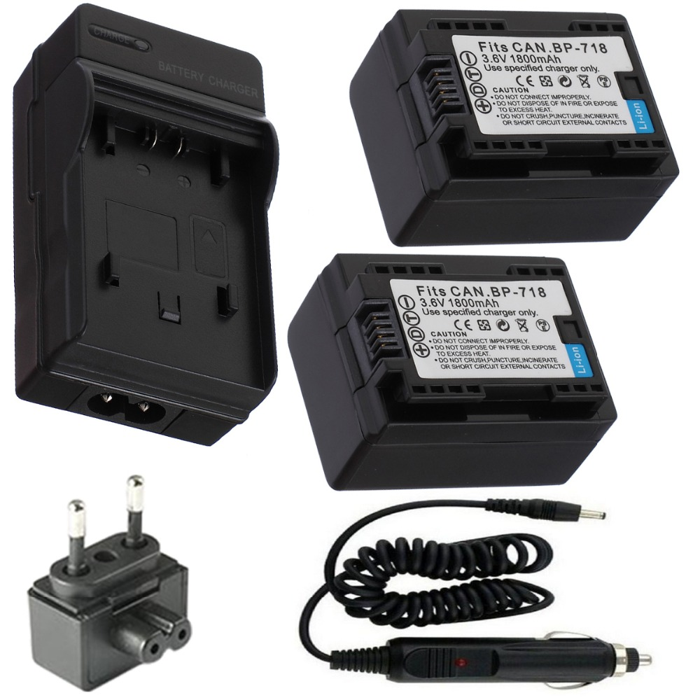 BP-718 Battery 2-Pack + Charger for Canon VIXIA HF M50, M52, M500 Camcorder and VIXIA HF R30, R32, R40, R42, R300,R400 Camcorder<br><br>Aliexpress