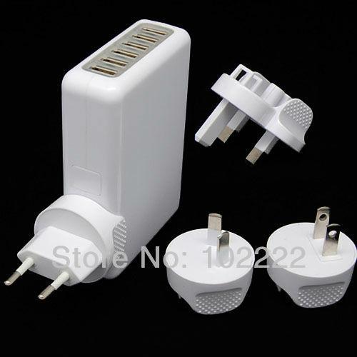 100pcs(20sets), 6 USB Ports Wall Charger 5V 4A Power Adapter W/ EU/AU/US/UK Plug for iPad iPhone 5 5G 4G 4S Samsung i9300 i9500
