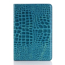 Phone Cases for Pad mini 4 Crocodile Skin Leather Cover with Wallet Slots- Blue(China (Mainland))