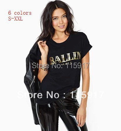 2015 fashion Ballin bronzier gold letter Monica print o neck short sleeve women's unsex t shirt big size - Chic Classic Store store