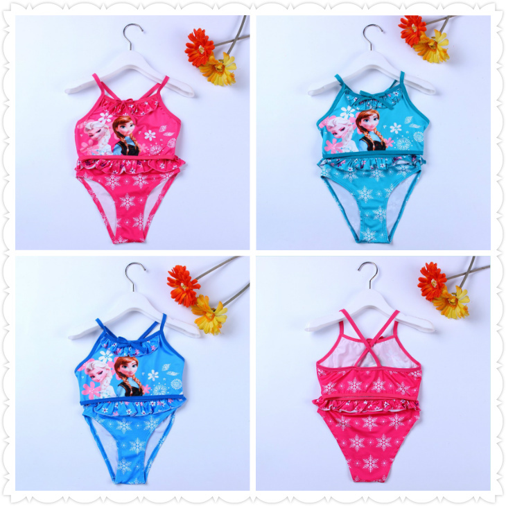3 colors girls swimwear/UV protection swimsuit/2015 new arrived Kids Elsa&Anna printed swim clothes(China (Mainland))