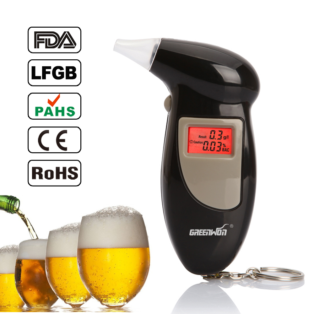 Backlit Display Digital LCD Alert Breath Alcohol Tester Prefessional Police Alcohol The Breathalyzer Parking Breathalyser(China (Mainland))
