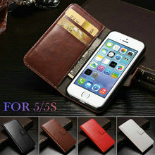 Case For IPHON 5 Vintage Wallet PU Leather Phone Bag Case for iPhone 5S Case with Stand Luxury Cover for iPhone 5 Case WHAY PU