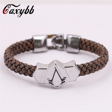 Buy 2016Boho Retro Punk Syndicate Assassins Creed Sheet Titanium Bracelets Braided Leather Bracelets Braclet Jewelry Jewelry Man Men for $1.26 in AliExpress store