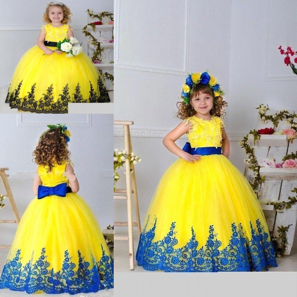2016 New Pageant Dresses For Little Girls Ball Gown Dresses Lace Applique Kids Prom Gowns Flower Girl Dresses 16072111(China (Mainland))