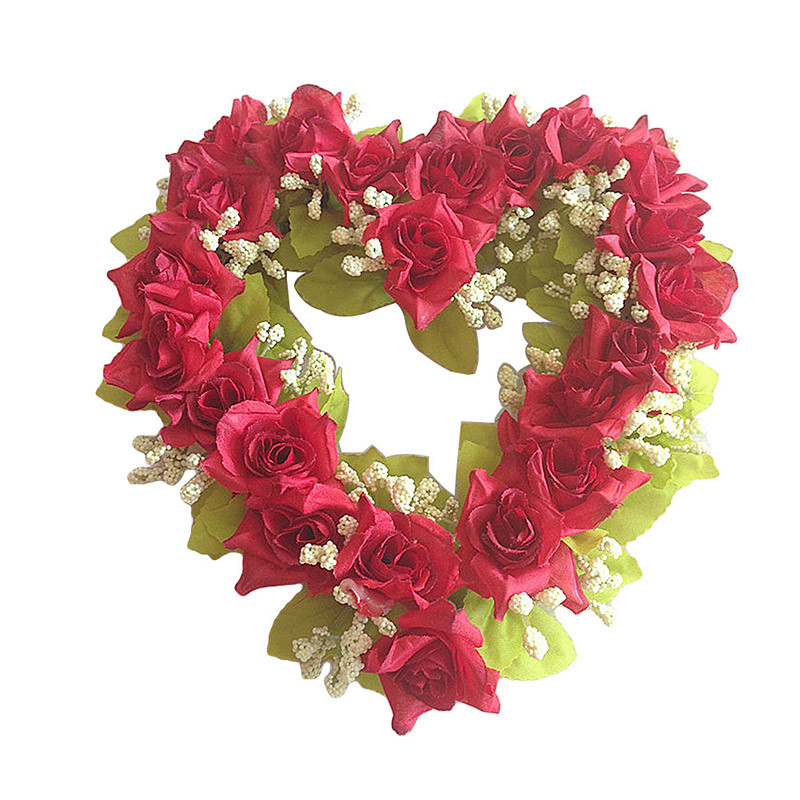 Heart Shaped Artificial Flower Wreath Door Decoration Hanging Wreaths Flowers Garland with Silk Ribbon for Home Door Decoration (6)