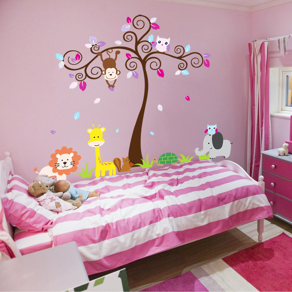 Animal Wall Decal Kids Cartoon Home Decor Wall Stickers Bedroom Lovely