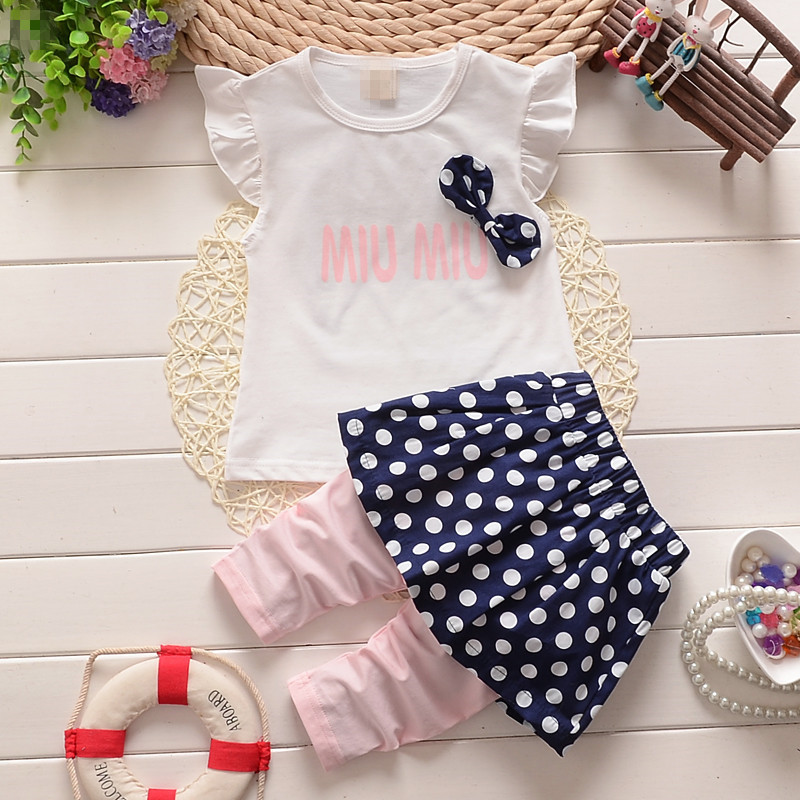 2016 New summer Baby girls clothing set bow children casual tracksuits set girls dot dress pants summer set kids tracksuit set(China (Mainland))