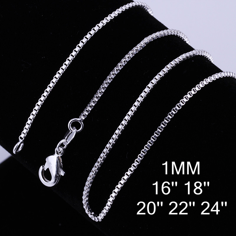 """1MM 16""""-24"""" Silver Plate Snake Chain Lobster Clasp Box Necklace Silver Snake Chain Necklace for Women Wedding Jewelry Never Fade(China (Mainland))"""