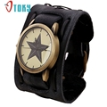 OTOKY Retro Punk Rock Black Brown Big Wide Leather Bracelet Cuff Men Watch Cool Relogio Masculino