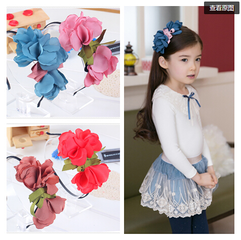 Artificial flowers gift children kids baby girls hair accessories hair bands headwear bow Retail wholesale Boutique tiara GG-171(China (Mainland))